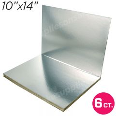 "10""x14"" Silver Cakeboard, 6 ct. - 2 mm thick"