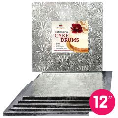 "12"" Silver Square Drum 1/2"", 6 count"