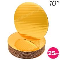 """10"""" Gold Round Coated Cakeboard, 25 ct"""
