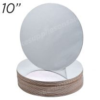 """10"""" Silver Round Cakeboard, 25 ct. - 2 mm thick"""