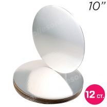 """10"""" Silver Round Coated Cakeboard, 12 ct"""