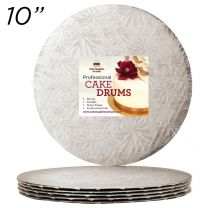 "10"" Silver Round Thin Drum 1/4"", 6 count"