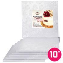 """10"""" White Square Drum 1/2"""", 6 count"""