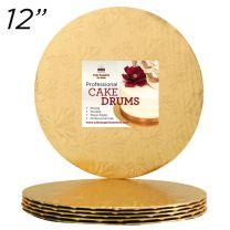 """12"""" Gold Round Thin Drum 1/4"""", 6 count"""