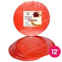 "12"" Red Round Drum 1/2"", 6 count"
