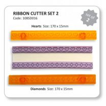 Ribbon Cutters Set 2 Hearts and Diamonds