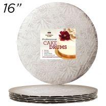 "16"" Silver Round Thin Drum 1/4"", 6 count"