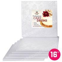 """16"""" White Square Drum 1/2"""", 6 count"""