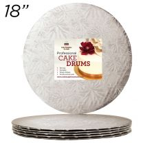 "18"" Silver Round Thin Drum 1/4"", 6 count"