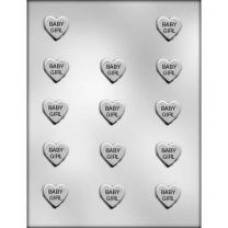 "1"" Baby Girl Heart Choc Mold"