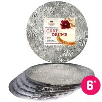 "6"" Silver Round Drum 1/2"", 6 count"