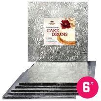 "6"" Silver Square Drum 1/2"", 6 count"