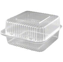 "6"" Deep Square Hinge Container, 25 ct"