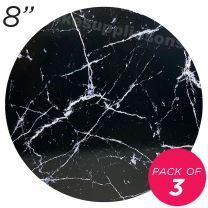 """8"""" Black Round Masonite Cake Board Marble Pattern - 6 mm thick, Pack of 3"""