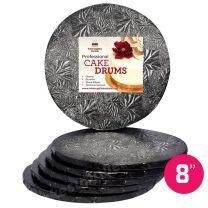 """8"""" Black Round Drum 1/2"""", 6 count"""