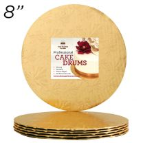 "8"" Gold Round Thin Drum 1/4"", 25 count"