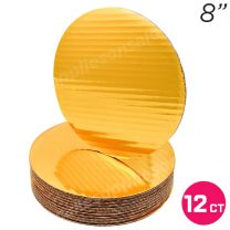 "8"" Gold Round Coated Cakeboard, 12 ct"