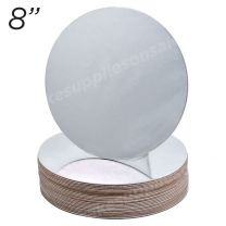 """8"""" Silver Round Cakeboard, 25 ct. - 2 mm thick"""