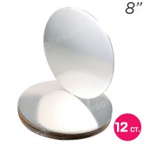 "8"" Silver Round Coated Cakeboard, 12 ct"