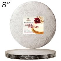 "8"" Silver Round Thin Drum 1/4"", 25 count"