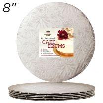 "8"" Silver Round Thin Drum 1/4"", 6 count"