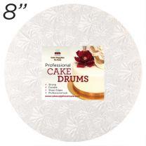 "8"" White Round Thin Drum 1/4"""