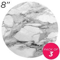 "8"" White Round Masonite Cake Board Marble Pattern - 6 mm, Pack of 3"