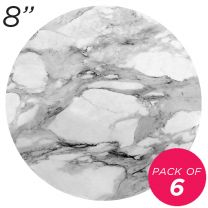"8"" White Round Masonite Cake Board Marble Pattern - 6 mm, Pack of 6"
