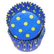 Blue With Yellow Hot Dots Baking Cups, 500 ct