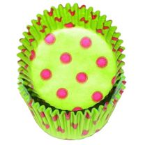 Lime Green With Pink Hot Dots Baking Cups, 500 ct