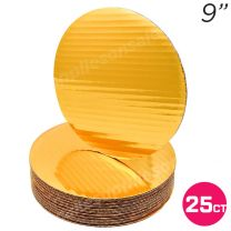 """9"""" Gold Round Coated Cakeboard, 25 ct"""