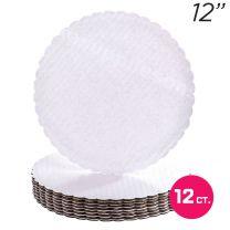 """12"""" White Scalloped Edge Cake Boards, 12 ct"""