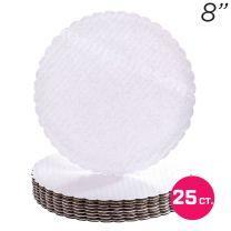 """8"""" White Scalloped Edge Cake Boards, 25 ct"""