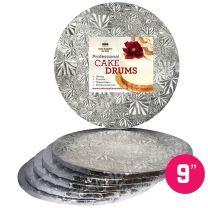 "9"" Silver Round Drum 1/2"", 6 count"