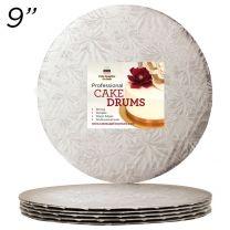 "9"" Silver Round Thin Drum 1/4"", 50 count"