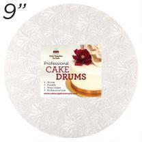 "9"" White Round Thin Drum 1/4"""