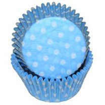 Light Blue Polka Dot Mini Baking Cups, 500 ct.