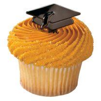 Black Metallic Graduation Hats, Cupcake Pics,12 ct.