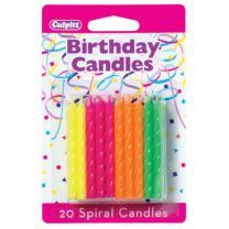 Neon Spiral Birthday Candles
