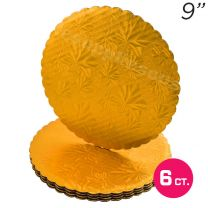 "9"" Gold Scalloped Edge Cake Boards, 6 ct"