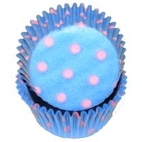 Light Blue With Light Pink Hot Dots Baking Cups, 500 ct