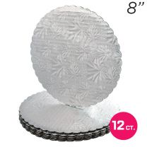 """8"""" Silver Scalloped Edge Cake Boards, 12 ct"""