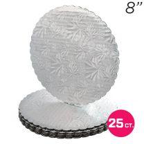"""8"""" Silver Scalloped Edge Cake Boards, 25 ct"""