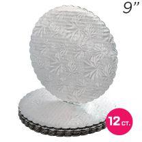 """9"""" Silver Scalloped Edge Cake Boards, 12 ct"""