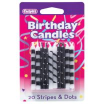 Black Stripes and Dots Pattern Birthday Candles