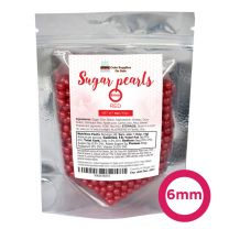Sugar Pearls - Pearlized 6mm, 4 oz - Red