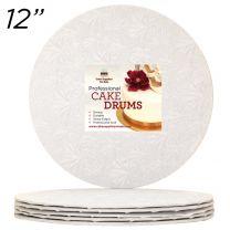 "12"" White Round Thin Drum 1/4"", 6 count"