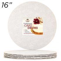 "16"" White Round Thin Drum 1/4"", 6 count"