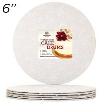 "6"" White Round Thin Drum 1/4"", 50 count"