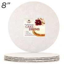 "8"" White Round Thin Drum 1/4"", 50 count"